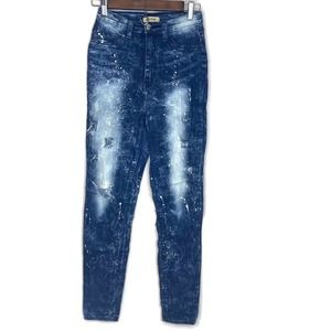 Aphrodite women's blue jeans jeggings 9 distressed